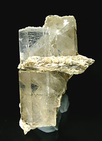 Two prismatic calcite crystals